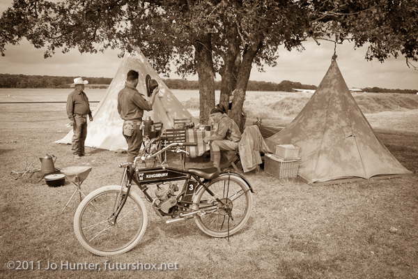 Tribute bike and re-enactors camp