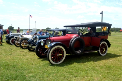 Display of antique cars that drove in to see the show