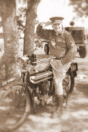 Al Sumrall on Triumph dispatch bike