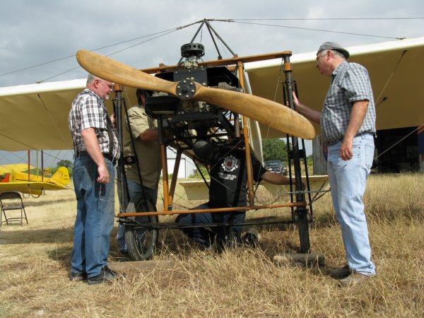 Working on the Bleriot engine