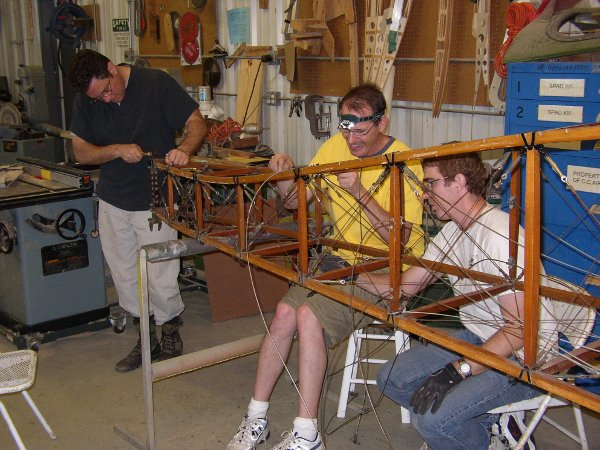 Cleaning a Thomas-Morse fuselage