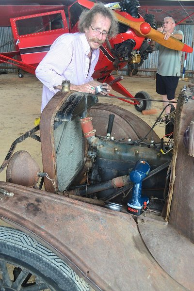 Repairing the Model T wrecker's fan pulley