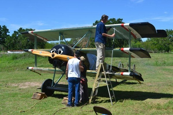 Steve and Kurt washing the Fokker Triplane