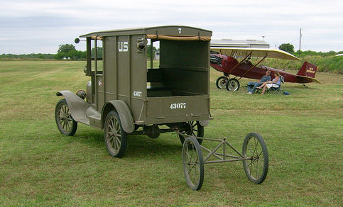 Signal Corps. Model T with aircraft tow dolly